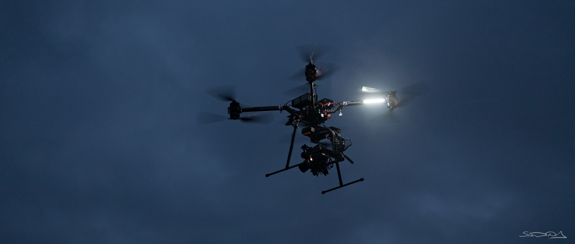 Drone flying in Backlot location